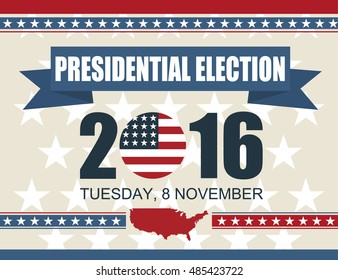 Presidential election 2016 8 november. Vector illustration poster design