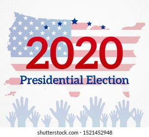 Presidential Election 2020 Background Illustration with Hands