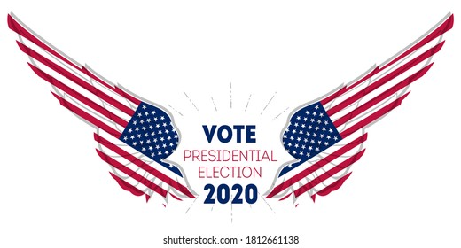 Presidential election 2020 in USA. Election poster. Print of t-shirt for Political election campaign. Stylized Wings in american flag colors and symbols.