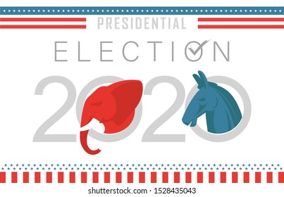 Presidential Election Banner with white Background for year 2020. American Election campaign between democrats and republicans. Electoral symbols of both political parties.