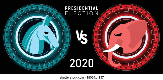Presidential Election Banner for year 2020. American Election campaign between democrats and republicans. Electoral symbols of both political parties as elephant & donkey. Red & Blue.