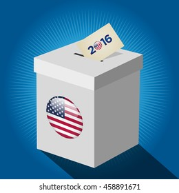 Presidential Election Day 2016 White Vote Box. Vote 2016 Text. American Flag's Symbolic Elements - Red Stripes and White Stars.