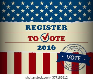 Presidential election in the USA - register to vote - poster template
