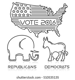 Presidential elections 2016. USA. logo design for US presidential elections. Line icons set. Vote 2016. Elephant and donkey. Democrats and Republicans. Vector illustration