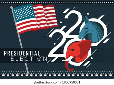 Presidential US Election Banner for year 2020. American Election campaign between democrats and republicans. Electoral symbols of both political parties as elephant & donkey. USA flag theme.
