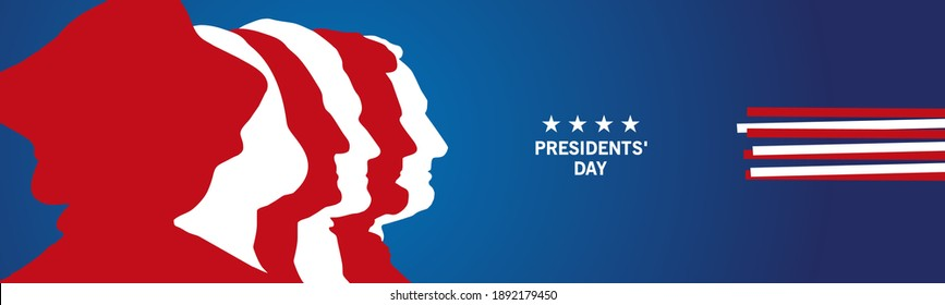 Presidents' Day abstract silhouettes USA ribbon flag patriotic template blue background banner