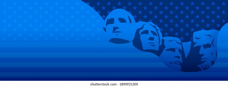 Presidents day background dark blue vector - USA Rushmore Presidents illustration, stars and stripes texture background
