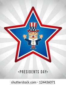 presidents day background, uncle sam. vector illustration
