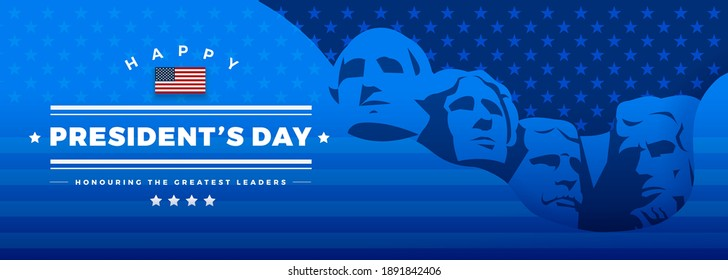 Presidents Day banner blue background vector illustration with lettering Happy President's Day and Rushmore USA presidents