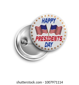 Presidents day button,badge,banner isolated with two flags USA. Vector design for  Independence Day,United States of American President holiday, Veterans Day