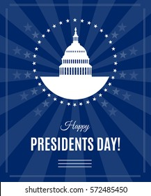 Presidents Day greeting banner with Washington DC White house and Capitol building around stars isolated on dark rays background. USA landmark. Vector illustration