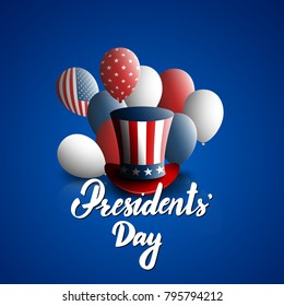 President's Day hand drawn lettering and president's hat for americans holiday celebration. Stock vector