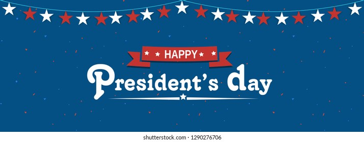 President's Day header or banner design decorated with bunting stars.