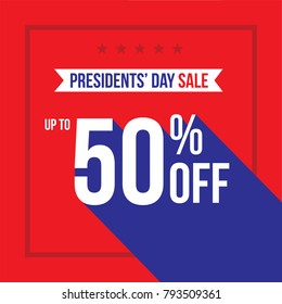 Presidents' Day Holiday Up To 50% Off Sale Advertisement Square Template Vector Illustration Over Red Background with Stars