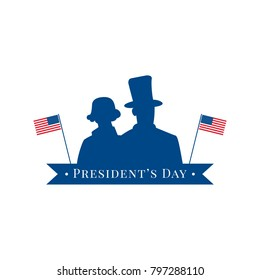 President's Day illustration, vector flat silhouette, logo for design, label, flag, star, red, blue, white, text on tape