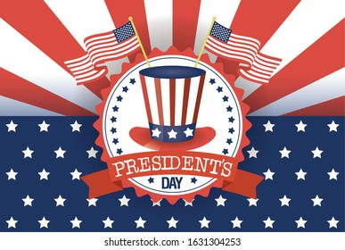 presidents day poster with usa tophat and flags vector illustration design