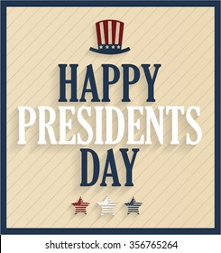 Presidents Day retro poster with hat. Vector illustration.
