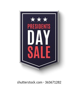 Presidents day sale banner, isolated on white background. Vector illustration.