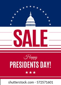 Presidents Day sale banner with Washington DC White house and abstract american flag background. Washington's Birthday discount banner. Vector Presidents Day illustration.