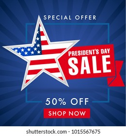 Presidents day sale, blue stripes banner. Happy President's Day Sale discount labels for web banner special offer vector illustration