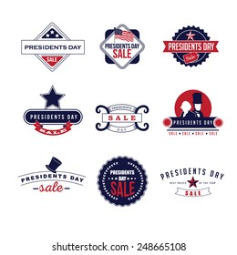 Presidents Day sale Icon Insignia Set EPS 10 vector royalty free stock illustration perfect for ads, posters, marketing, blog, website