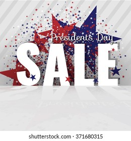 Presidents Day Sale. Letters with reflection, stars and flag on the striped background. Stock vector.