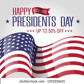 Presidents day sale.Vector offer banner with american flag. Patriotic illustration