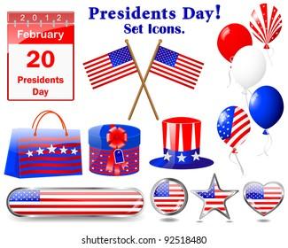 Presidents day. Set of Icons.(button, flag, hat, calendar, balloon, gift). 10 EPS. Vector Illustration.
