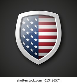 President's day shield banner isolated with stars and stripes presentation. Independence Day icon with USA flag. Protect privacy badge. United States of American President holiday. Veterans Day