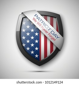 President's day shield banner with stars and stripes presentation. Independence Day shield icon with USA flag. Protect privacy badge. United States of American President holiday. Veterans Day shield