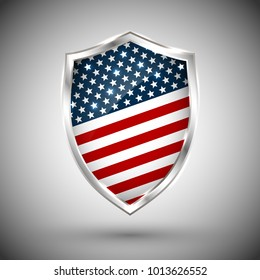 President's day shield banner with stars and stripes presentation. Independence Day shield icon with USA flag. Protect privacy badge. United States of American President holiday. Veterans Day shield.