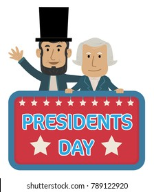 Presidents Day Sign with Abraham Lincoln and George Washington. Eps10