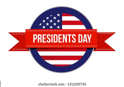 Presidents day US flag seal and ribbon icon illustration design isolated over white