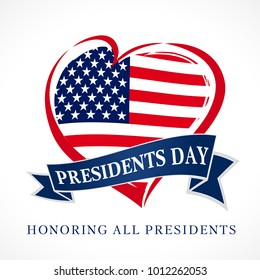 Presidents day USA heart emblem flag colored. Calligraphic composition of Happy Presidents Day with heart and text on ribbon. Vector illustration