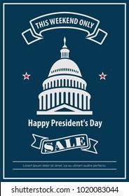 Presidents Day weekend sale banner, poster. Vector illustration