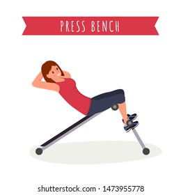 Press bench workout flat vector illustration. Young woman in sportswear, fitness trainer working out cartoon character. Abdominal muscles training exercise, healthy lifestyle, gym workout banner
