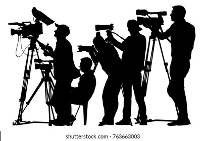 Press cameraman silhouette