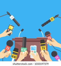 Press conference. Hands holding microphones and digital voice recorders. Rostrum, tribune with microphones. Modern flat design graphic elements. Vector illustration