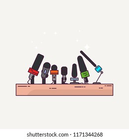 Press conference or interview podium. News and journalism banner. Line style microphones. Press conference concept illustration.