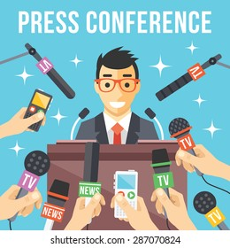 Press conference. Live report, live news concept. Many hands of journalists with microphones, dictaphones and handsome smiling man standing at the rostrum and giving interview. Vector illustration