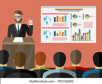 Press conference. Man standing at rostrum with microphones in auditorium with people. Flat design graphics for web banners, websites, printed materials. Vector illustration