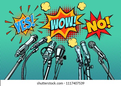 press conference microphones background, Yes no wow. Pop art retro vector illustration kitsch vintage drawing