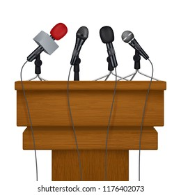 Press conference stage. Meeting news media microphones vector realistic pictures. Illustratin of stage conference press with microphone