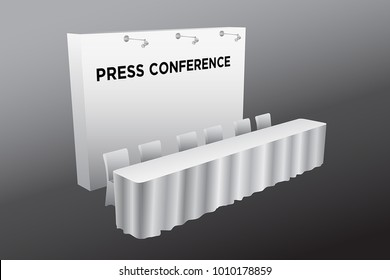 Press conference table and backdrop with spotlight white color vector editable.