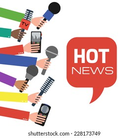 Press interview or presentation. Journalism concept illustration in flat style. Hands holding microphones and voice recorders. Hot news. Vector illustration.