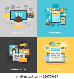 Press and media industry icons set with video photo analog and news media symbols flat isolated vector illustration