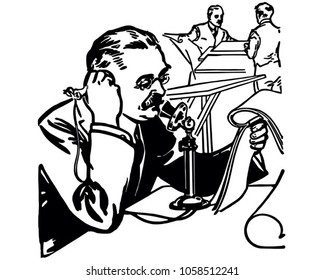 Press Reporter On Phone - Retro Clip Art Illustration
