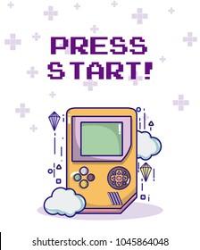 Press start retro videogame console