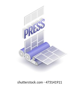 The press word and part of printing press. Polygraphic process, vector illustration.