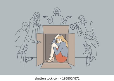 Pressure, bad emotions, desperate state concept. Unhappy stressed scared businesswoman sitting hiding inside box with negative human emotions feeling pressure and negative attitude from people